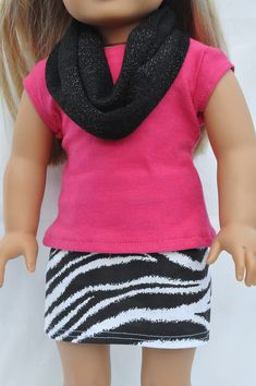 American Girl Doll Clothes Zebra Print Mini Skirt Pink T-shirt And Infinity…
