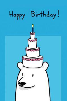 Happy Birthday Cake on Head Card, Sebastien Millon