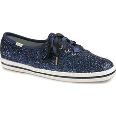 Keds x kate spade new york Champion Glitter Wedding ($80) ❤ liked on Polyvore featuring shoes, sneakers, flat shoes, glitter shoes, sparkle sneakers, blue flat shoes and glitter flat shoes