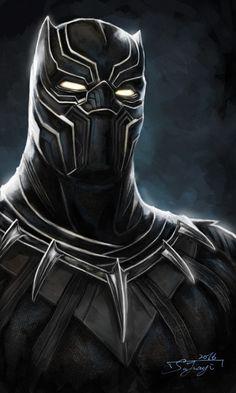 #Black #Panther #Fan #Art. (Black Panther) By: JIA YI SU. ÅWESOMENESS!!!™…