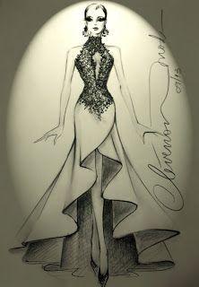DESENHOS DE MODA: Desenhos de Moda - Vestido com aplicação de renda sobre tule…