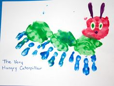 Handprint art activity to do with book The Very Hungry Caterpillar.I like to read the story before or after this craft:) Kids Crafts, Daycare Crafts, Baby Crafts, Toddler Crafts, Crafts To Do, Projects For Kids, Craft Projects, Craft Ideas, Daycare Rooms