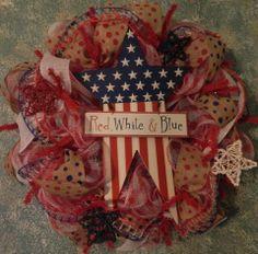 Burlap wreath 4th of July.