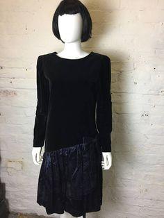 Austin Reed Vintage Retro 80s Velvet Ruffle Skirt Party Dress