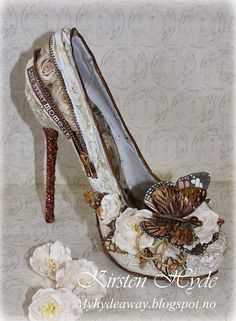 A Mixed Media wedding shoe. Papers from Kaisercraft and Prima. Embellishment from Prima. Created by Kirsten Hyde