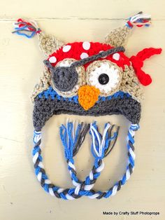 Crochet Pirate Owl beanie (Made to Order)