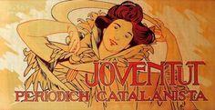 """Alexandre de Riquer (1856 -1920). """"Cartell Joventut, periòdich catalanista, 1900"""". Cromolitografìa. 45 x 98 cm. Col·l. particular. Barcelona. España."""