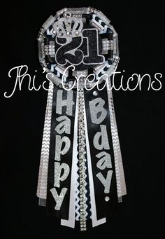 Ashley's 21st birthday pin/mum/corsage in black, white, chevron, and silver #JhisCreations