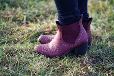 rabbit hole: The burgundy studded shoes.