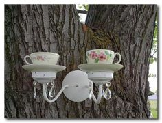 Tea Cup and Saucer Feeder/Waterer Recycled Garden Art.Tea Cup and Saucer Feeder/Waterer Recycled Garden Art, Garden Crafts, Garden Projects, Garden Ideas, Garden Inspiration, Deco Nature, Sconce Lighting, Party Lighting, Outdoor Lighting