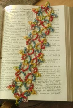 My first needle tatted bookmark :-)  I used cream thread and dyed it myself :-)