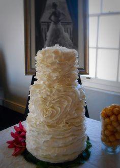 Ruffled Heart Wedding Cake