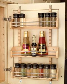 Rev A Shelf Spice Rack Adjustable Door Mount Wood. This Door Mount Spice Rack is available for Wall and cabinets. Adjustable brackets allow up to of adjustability this unit also features adjustable shelves. Door Mounted Spice Rack, Cabinet Spice Rack, Wood Spice Rack, Door Rack, Spice Storage, Spice Organization, Extra Storage, Trailer Organization, Spice Shelf