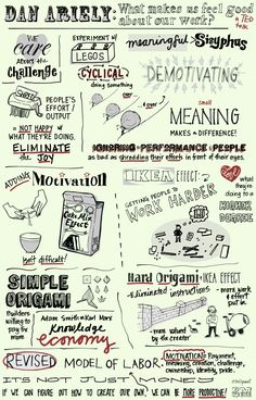 Dan Ariely What Makes Us Feel Good About Our Work Sketchnotes by @In A Nutshell Studio and Estelle Morris