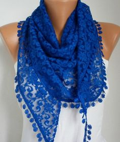 Royal Blue Lace Scarf. Blue Lace. Blue Accessories. A Touch of Blue. Shades of Blue. Better in Blue.