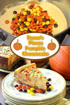 This Reese's Pieces Pumpkin Cheesecake with Pretzel Graham Crust is the dessert that you'll want to save plenty of room for.#cheesecake #pumpkincheesecake #peanutbutterpumpkincheesecake #thanksgivingdessert #thanksgivingcheesecake #fallcheesecake #pretzelcrust #kudoskitchenrecipes Healthy Dessert Recipes, Fun Desserts, Dinner Recipes, Pumpkin Cheesecake Recipes, Pumpkin Recipes, Cheesecake Bites, Pork Recipes, Seafood Recipes, Reese's Pieces