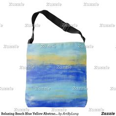 Keep your bag close with one of our comfortable Colorful crossbody bags. Blue Yellow, Abstract Art, Fashion Accessories, Crossbody Bag, Reusable Tote Bags, Beach, Color, Design, The Beach