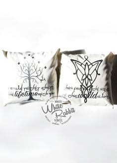 "Perfect as a travel pillow or for bedroom decor! LOTR Arwen and Aragorn inspired pillow covers. ""I would rather share one lifetime with you than face all the ages of this world alone."" - Black & Silve"