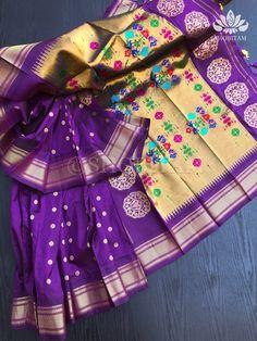 Grand Kanjivaram Silk Saree with Paithani style Borders and pallu | SI – Shobitam Kanjivaram Sarees, Silk Sarees, Purple Saree, Color Correction, Color Combinations, Things To Come, Delicate, Peacocks, Trending Outfits