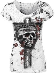 7c6399c29 Alchemy England Skull Heart Spike Girl-Shirt weiß M: Amazon.de: Bekleidung
