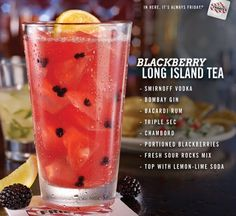 Blackberry Long Island Tea recipe: Mix the cocktail with Smirnoff Vodka, Bombay Gin, BACARDI Rum, triple sec, Chambord, blackberries, fresh lemon, fresh sour rocks mix and lemon-lime soda.