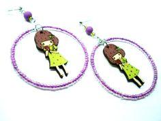 Hoop earrings-Lollipop girl-Wooden by PlanetEarthHandmade on Etsy