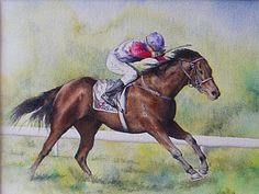 Horse Racing Painting - 'ticklish' by Carol McLagan
