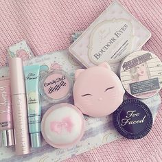 Image about pink in ⚤kawaii⚤ by ؤº°ℰℒℒᎯ°º¤Ø on We Heart It Kawaii Makeup, Cute Makeup, Pretty Makeup, Maquillaje Too Faced, Skin Makeup, Makeup Brushes, Aesthetic Makeup, Makeup Brands, Korean Makeup Products