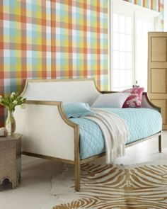 Preppy room with plaid wallpaper and daybed Lilly Pulitzer Designs