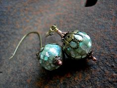 Luminous Shell Earrings, Disco Balls, Antiqued Brass Filigree, Mod Style by Elksong Jewelry $27.00