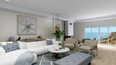Modern Hampton's style living room near the coast. New Furniture, Outdoor Furniture Sets, Hamptons Living Room, Hamptons Style Homes, Floor Plan Layout, Hallway Designs, Living Room Designs, Living Rooms, House Layouts