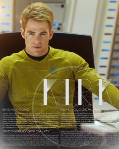 Star Trek character bio thingies: James T. Kirk  [Have a character based off of him #CamCampbell]