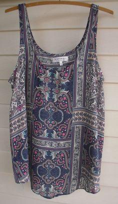 Cotton On Women s Blue Pink White Green & Orange Pattern Singlet Top - Size L