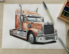 57 Ideas For Truck Tattoo Ideas Products Pink Truck, Black Truck, Vintage Pickup Trucks, Ford Pickup Trucks, Big Rig Trucks, Cool Trucks, Trucker Tattoo, Trailers, Truck Bed Storage