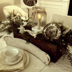 winter patios with snow and decorated Christmas trees   ... winter scene, and the glow of a candle in a ball jar with epsom salt