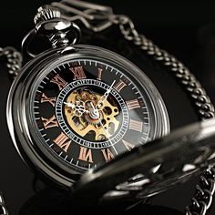 Classic Black Skeleton Windup Mechanical Antique Chain Man Men Mens Pocket Watch