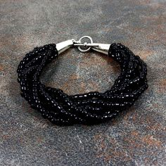 Seed Bead Bracelet Statement Bracelet Black Multistrand by Pilboxx