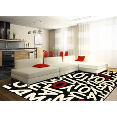 Black white red lettered rug