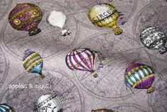 Hot air balloon map fabric -- how steampunk!
