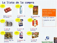 Lista de la compra para trabajar las operaciones con decimales asociadas a las compras.