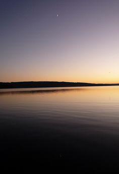 moon over lake Lygnern, Sweden