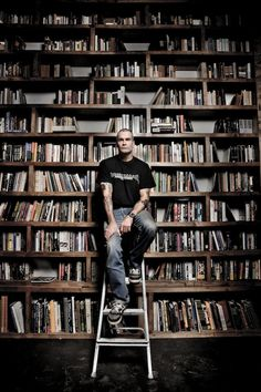 Henry Rollins and his bookcases