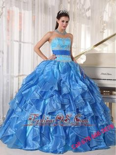 98e1776e940 Romantic Blue Quinceanera Dress Strapless Organza Appliques Ball Gown Red Quinceanera  Dresses