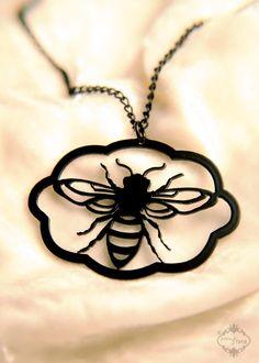 Honey Bee necklace in black stainless steel  by FableAndFury, $26.00