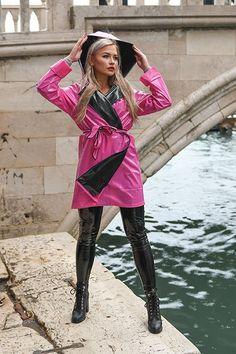 Pink Raincoat, Hooded Raincoat, Hooded Cloak, Vintage Vogue, Vintage Ladies, Vintage Fashion, Vintage Style, Women's Fashion, Pvc Jeans