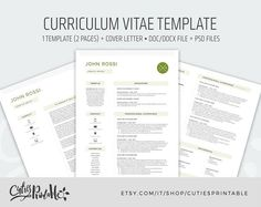 Professional Resume Template Cv Template Editable In Ms Word  Cv