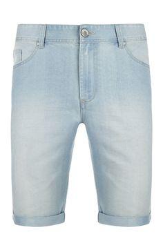Bleach Wash Longer Denim Shorts