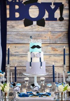moustache-themed dessert table for a boy baby shower - DigsDigs