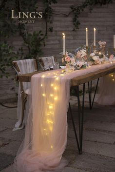 Perfect for wedding! This extra-long floating tulle table runner is romantic and garden-like. party table Perfect for wedding! This extra-long floating tulle table runner is romantic and garden-like. Tulle Table Runner, Lace Table Runners, Decoration Evenementielle, Wedding Themes, Tulle Wedding Decorations, Diy Wedding Table Decorations, Long Table Centerpieces, Wedding Ideas Using Tulle, Centerpieces For Weddings