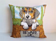 Cushion cover Puppy dog decor handmade from vintage linen tea towel